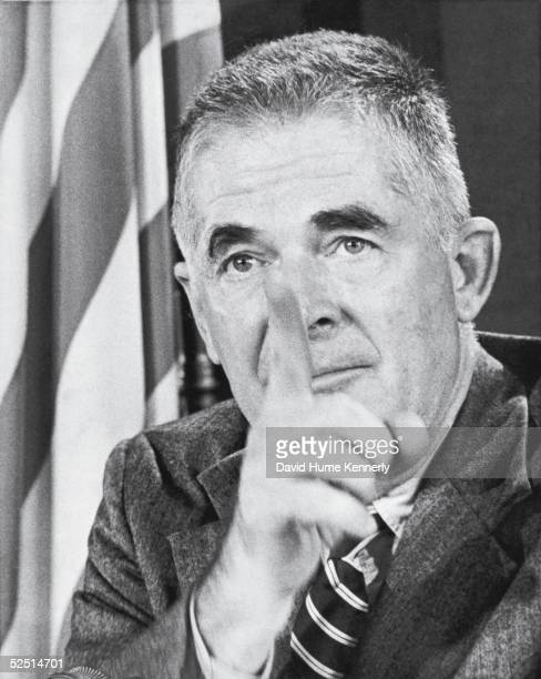 Portrait American lawyer and Watergate special prosecutor Archibald Cox as he points a finger Washington DC early 1970s