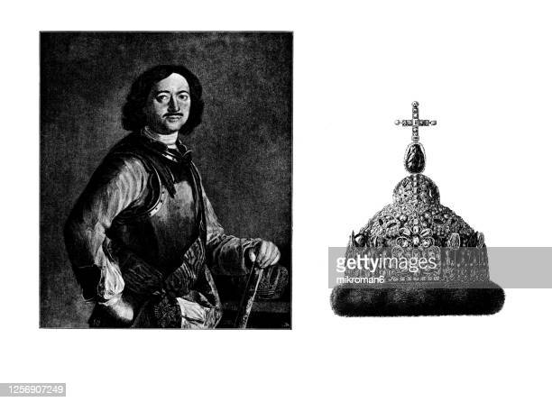 portrait and crown of tsar peter i the great (1672-1725), emperor of russia - history stock pictures, royalty-free photos & images