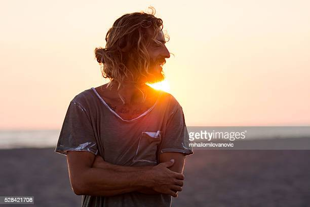 portrait and sunset at the beach - back lit stock pictures, royalty-free photos & images
