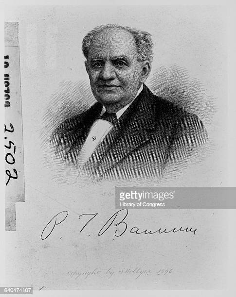 A portrait and the signature of PT Barnum who in partnership with James A Bailey created 'The Greatest Show on Earth'