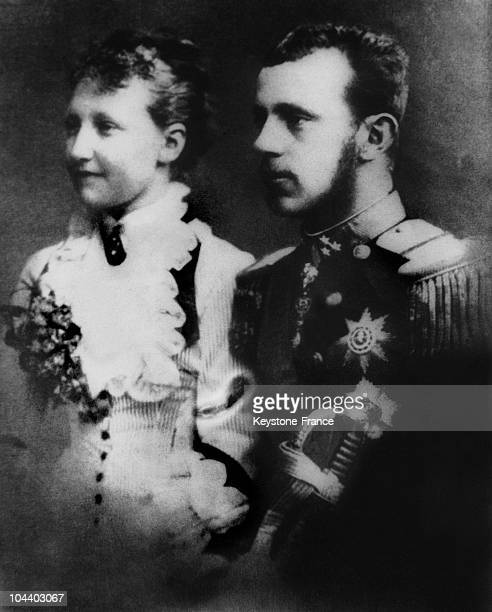 Portrait around 1880 of Prince Rudolph, only child of Emperor-King Francis-Joseph of Austria-Hungary and inheritor to the imperial throne, with his...