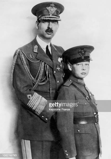 Portrait Around 19301931 Of King Carol Ii Of Romania With His Son Prince Michael Deposed From The Throne By His Father In 1930 To Pursue His Studies...