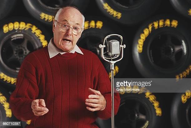 Portrait at the microphone of commentator Murray Walker on 2 February 1993 at the Allsport studio in Colliers Wood London England