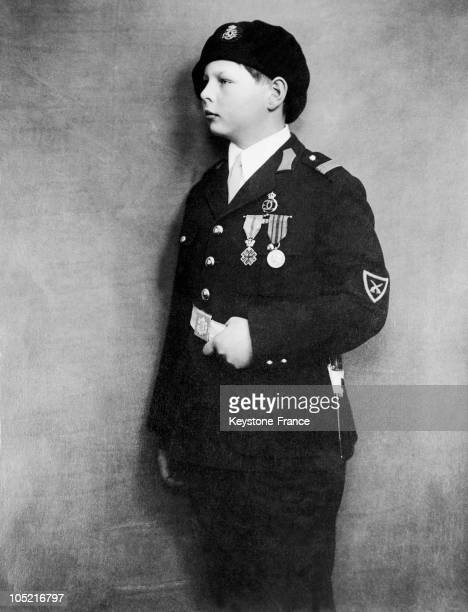 Portrait Between 1930 And 1935 Of Prince Michael Of Romania A Great Voivode And Son Of King Carol Ii In Military School Uniform Made King In 1927 On...