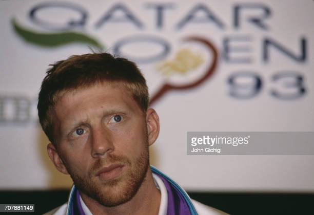 Portrait Boris Becker of Germany after defeating Goran Ivanisevic in the Men's Singles Final of the Mannai Cadillac Qatar Tennis Open on 11 January...