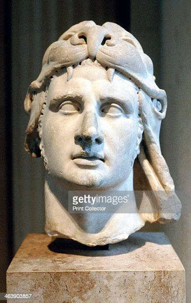 Portrait bust of Alexander the Great Carved marble head of Alexander the Great wearing lion headdress He was Alexander III of Macedon from 336 BC