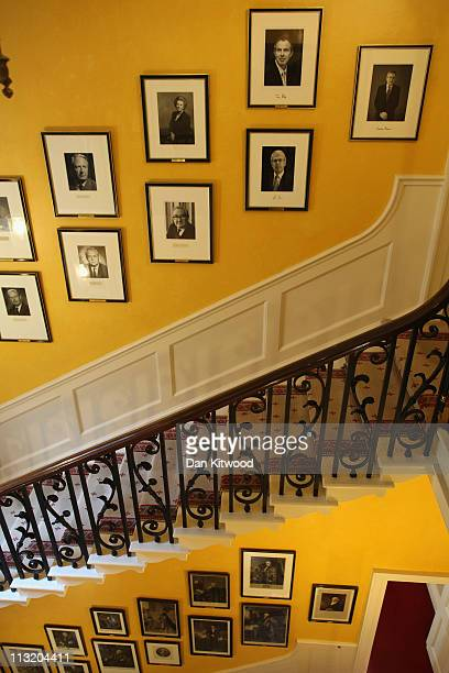 Portrait by of Former British Prime Minister Gordon Brown by photographer Tom Miller, hangs at Number 10 Downing Street on April 27, 2011 in London,...