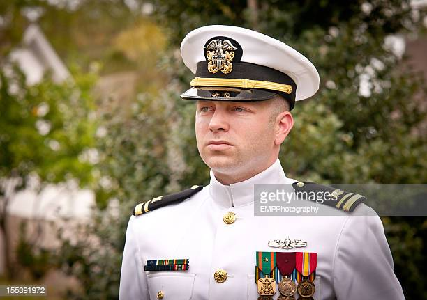 Portrait Caucasian Naval Officer in Winter Whites Uniform Outside