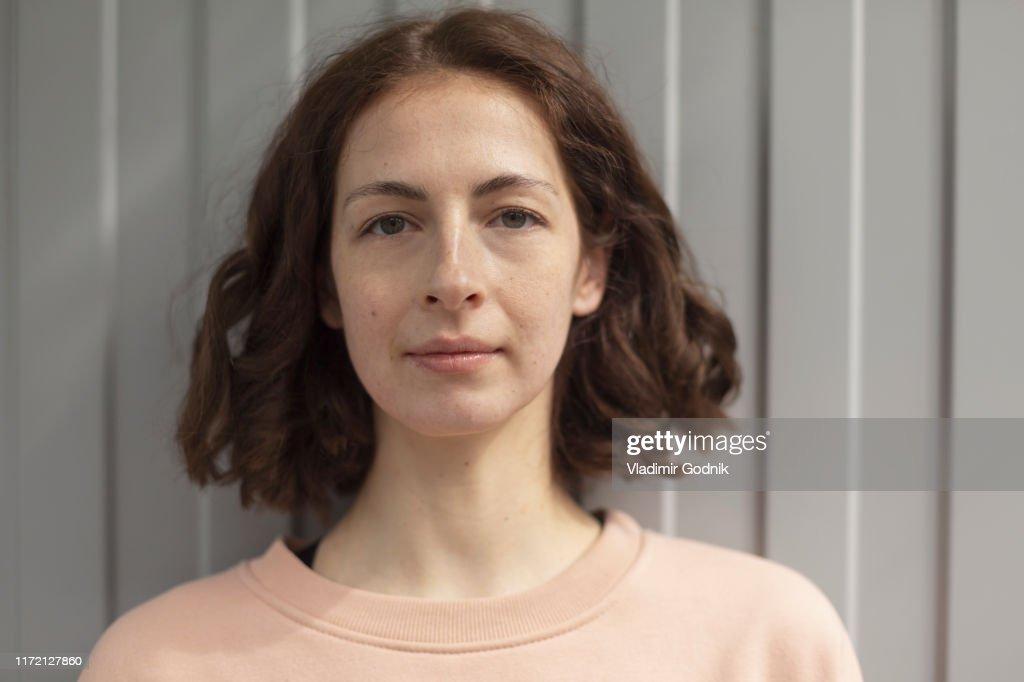 Portrait confident, beautiful woman : Stock Photo