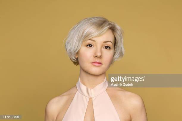 portrait confident, beautiful young woman - white hair stock pictures, royalty-free photos & images