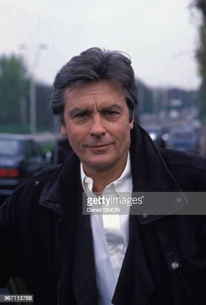 Portrait d'Alain Delon le 21 avril 1988 en France