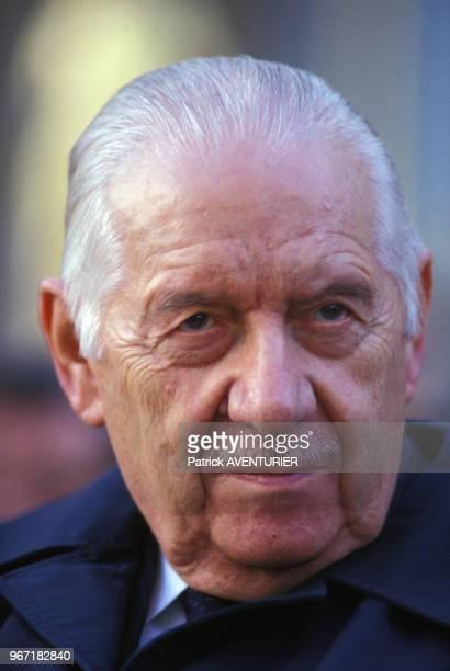 Portrait d'Alain Poher lors du 30ème anniversaire de l'ADT QuartMonde le 17 août 1987 en France