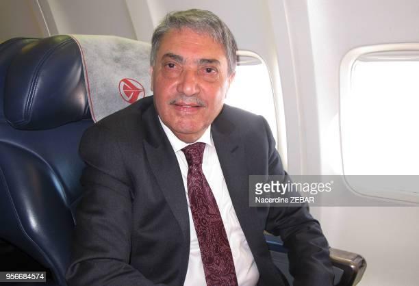 Portrait d'Ali Benflis candidat aux elections presidentielles algériennes dans un avion en route pour un meeting à Biskra le 5 avril 2014, Algérie.