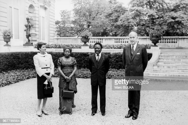 Portrait d'AnneAymone Giscard d'Estaing Patience Dabany et de leurs époux Omar Bongo président du Gabon et Valéry Giscard d'Estaing président de la...