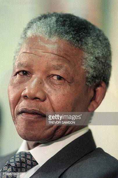 Portrait dated 08 February 1991 of Nelson Mandela South African antiapartheid leader and African National Congress member during a press conference...