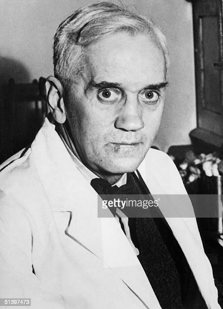 A portrait dated 18 October 1944 of British bacteriologist Sir Alexander Fleming Fleming was the first to use antityphoid vaccines on human beings...