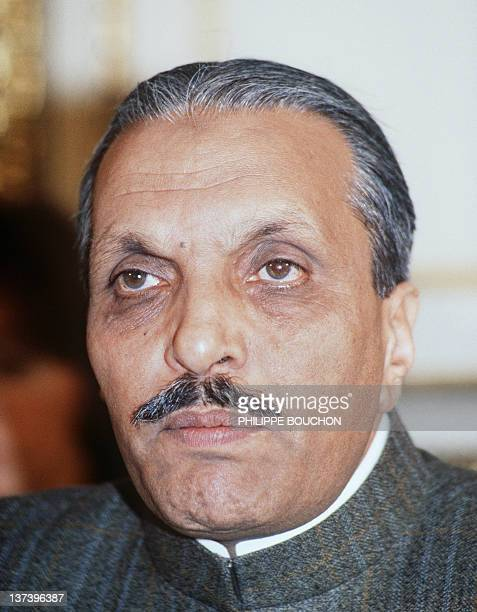 Portrait dated 25 January 1982 of Pakistanese president general Muhammad ZiaUlHaq during a press conference in Paris after a meeting with French...