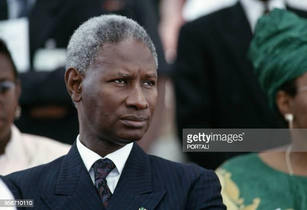 Portrait de Abdou Diouf le président de la République du Sénégal en juillet 1991