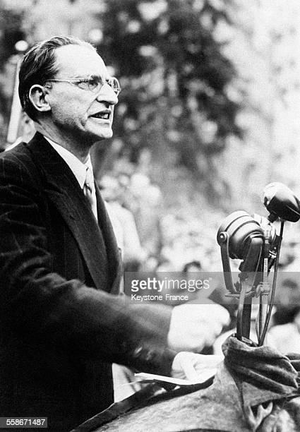 Portrait de Alcide De Gasperi Président du Conseil chargé de former le nouveau gouvernement en Italie en 1945
