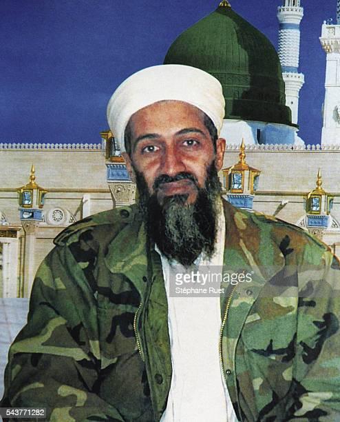 Portrait de Ben Laden en treillis militaire.