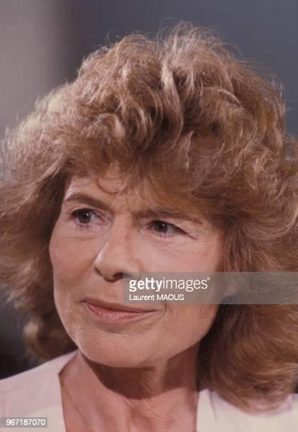 Portrait de Claude Sarraute journaliste et romancière le 24 mai 1985 à Paris France