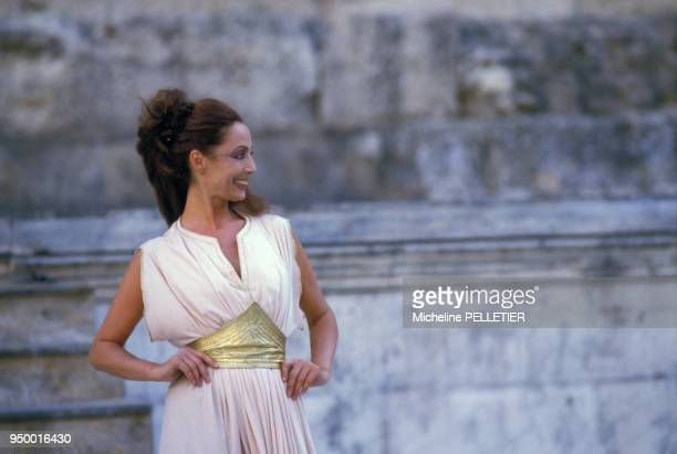 Portrait de Claudine Coster actrice lors d'une représentation théâtrale circa 1980 en France