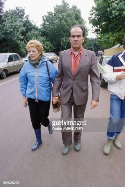 Portrait de Georges Marchais en compagnie de sa femme Liliane lors de la Fête de l'Humanité le 11 septembre 1983 à La Courneuve France