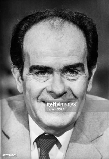 Portrait de Georges Marchais secrétaire du parti communiste français invité de l'émission de télévision 'Vendredi' sur FR3 le 20 janvier 1984 à Paris...