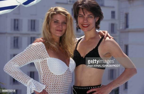 Portrait de Ginger Lynn Allen et Elizabeth Saltarelli au Festival de Cannes en mai 1993 France