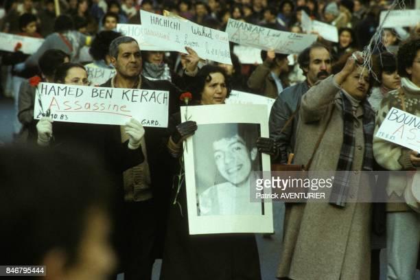 Portrait de Hamed Ben Kerach a la manifestation des immigres contre le racisme et pour l'egalite le 3 decembre 1983 a Paris France