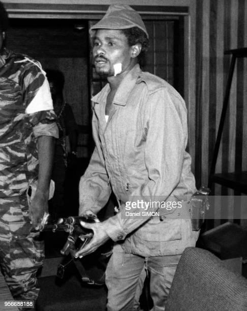 Portrait de Hissen Habre, chef des rebelles toubous en février 1979 à N'Djaména, Tchad.