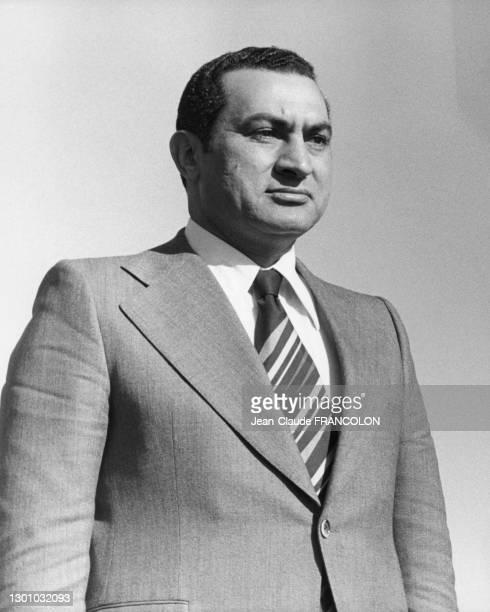 Portrait de Hosni Moubarak lors du sommet de Organisation de l'unité africaine le 10 Janvier 1976 à Addis Abeba, Éthiopie.