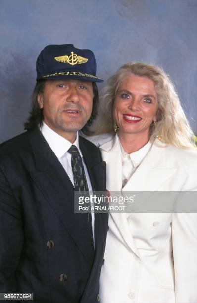 Portrait de Ilie Nstase et sa femme au tournoi de tennis de Roland Garros le 3 juin 1994 Paris France