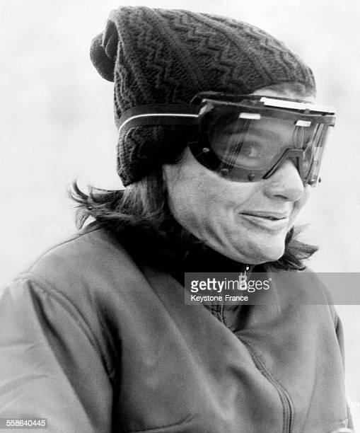 Portrait de Jacqueline Kennedy en vacances aux sports d'hiver à Gstaad Suisse le 16 janvier 1966