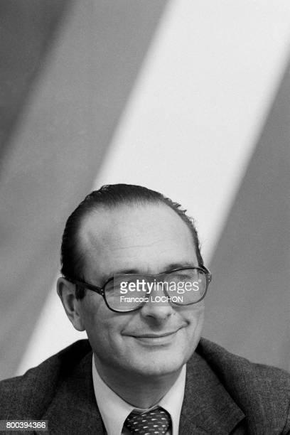 Portrait de Jacques Chirac en octobre 1976 à Périgueux, France.