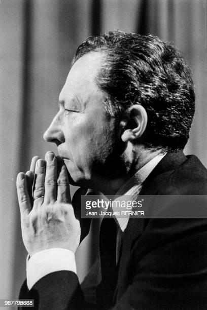 Portrait de Jacques Delors invité de l'émission 'RTL Le Grand Jury' le 26 juin 1983 à Paris France