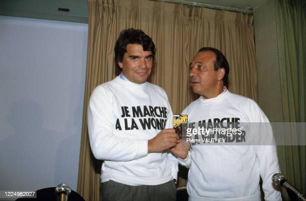"""Portrait de Jacques Séguéla et Bernard Tapie lors de la présentation du film publicitaire """" Qu'est ce qui fait marcher Bernard Tapie ? """" pour les..."""