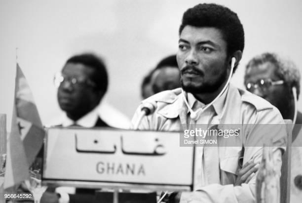 Portrait de Jerry Rawlings futur président du Ghana circa 1980