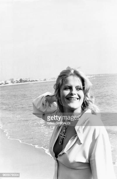 Portrait de Karin Schubert le 22 mai 1973 au festival de Cannes, France.