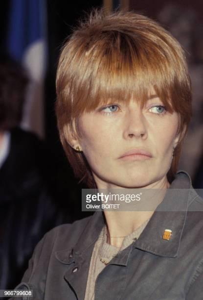 Portrait de la dessinatrice Claire Bretécher le 29 janvier 1983 à Angoulême, France.