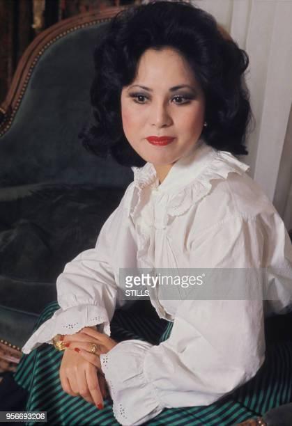Portrait de la femme d'affaires japonaise Dewi Sukarno circa 1980
