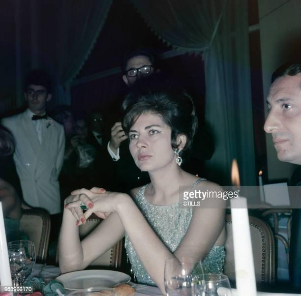 Portrait de la Princesse Soraya, deuxième épouse du Shah d'Iran, lors d'un diner à Paris dans les années 70, France. Circa 1970.