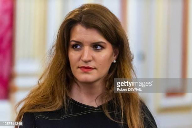 Portrait de la Secrétaire d'État chargée de l'Égalité entre les femmes et les hommes et de la Lutte contre les discriminations Marlène Schiappa, le 4...