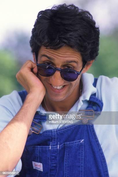 Portrait de l'acteur Richard Anconina lors du trophée Edel le 31 juillet 1988 à Deauville France