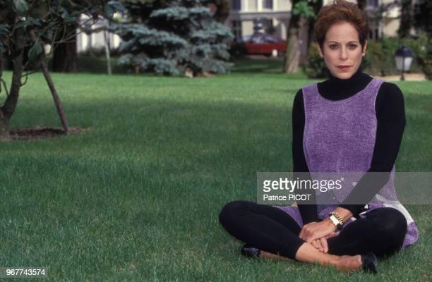Portrait de l'actrice américaine Louise Sorel au Pavillon du Trianon le 30 septembre 1992 à Versailles France
