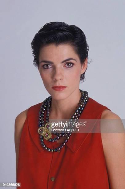 Portrait de l'actrice Elizabeth Bourgine en décembre 1986 à Paris France
