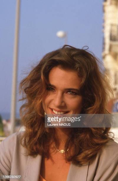 Portrait de l'actrice française Maruschka Detmers, lors du Festival du film romantique le 19 juin 1986, dans le Calvados, France.