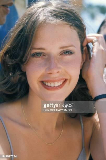 Portrait de l'actrice Sylvia Kristel en mai 1976 à Cannes, France.