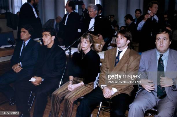 Portrait de l'homme d'affaires Bernard Tapie dirigeant de l'OM, jugé pour corruption sur le banc des accusés lors du procès en appel de l'affaire...
