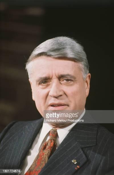 Portrait de l'homme politique français Robert Boulin, lors d'une conférence de presse.